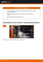 Hvordan skifte fremre bremseklosser på skivebrems på Opel Zafira B A05