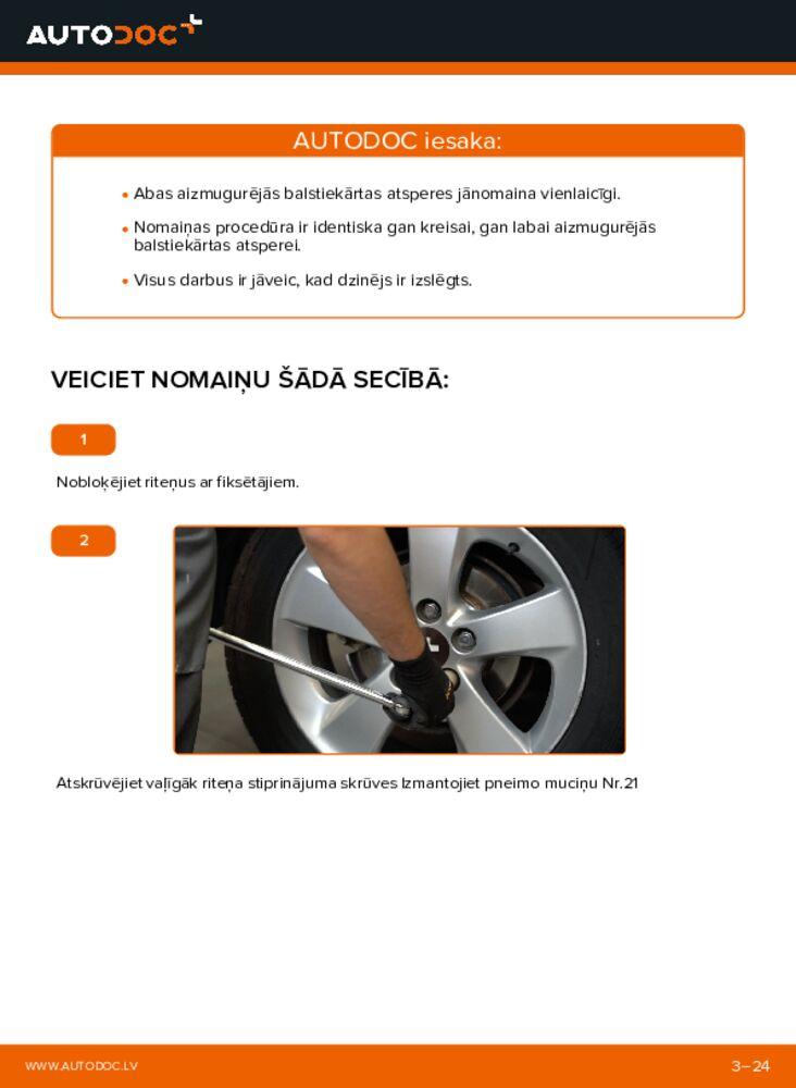 Kā veikt nomaiņu: 1.4 D-4D (NDE150_) Toyota Auris e15 Piekare