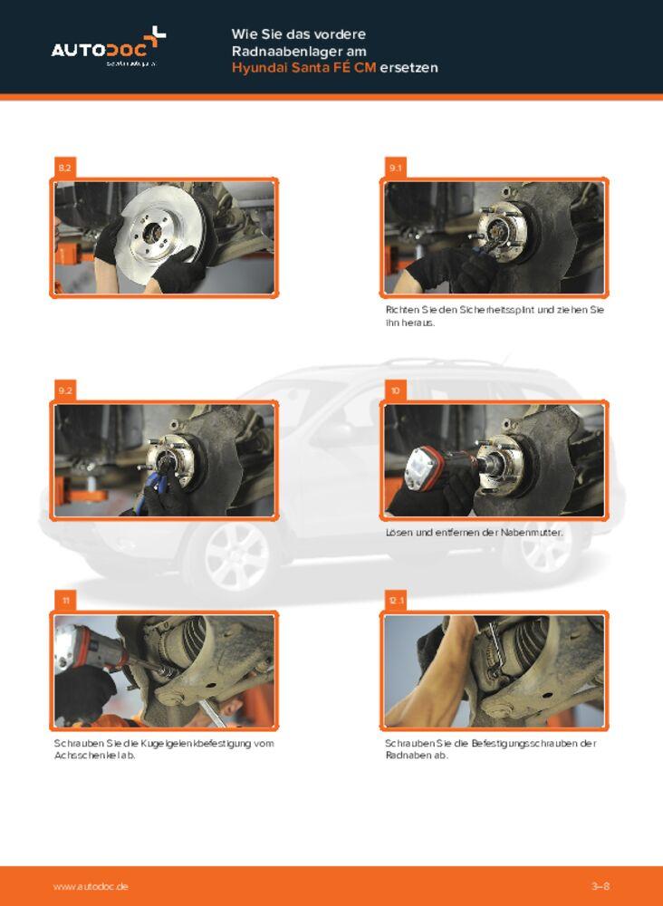 Wie der Wechsel durchführt wird: Radlager Hyundai Santa Fe cm 2.2 CRDi 4x4 2.2 CRDi GLS 4x4 2.2 CRDi tauschen