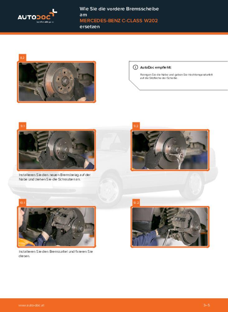 Wie der Austausch bewerkstelligt wird: Bremsscheiben beim C 180 1.8 (202.018) W202 Mercedes