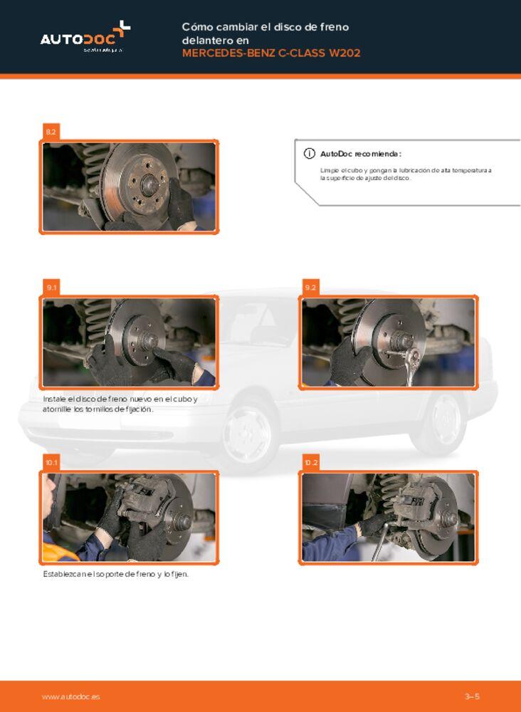 ¿Cómo realizar un reemplazo de Discos de Freno en C 180 1.8 (202.018) W202 Mercedes? Eche un vistazo a nuestra guía detallada y sepa cómo hacerlo.