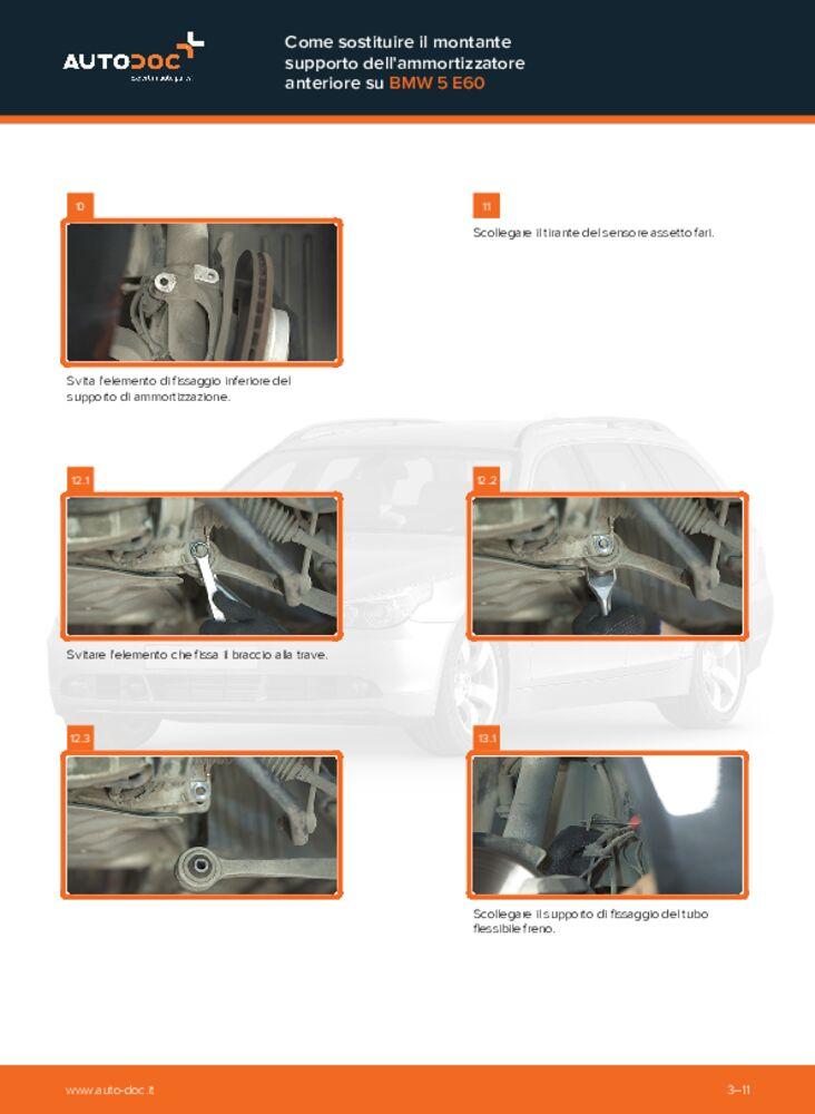 Come effettuare una sostituzione di Supporto Ammortizzatore su 530d 3.0 BMW E60