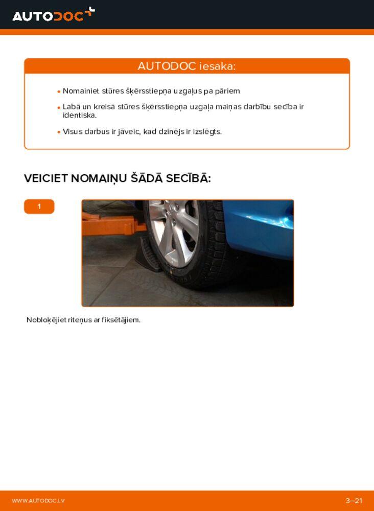 Kā veikt nomaiņu: 1.3 Hybrid (ZE28, ZE2) Honda Insight ZE2/ZE3 Stūres šķērsstiepņa uzgalis