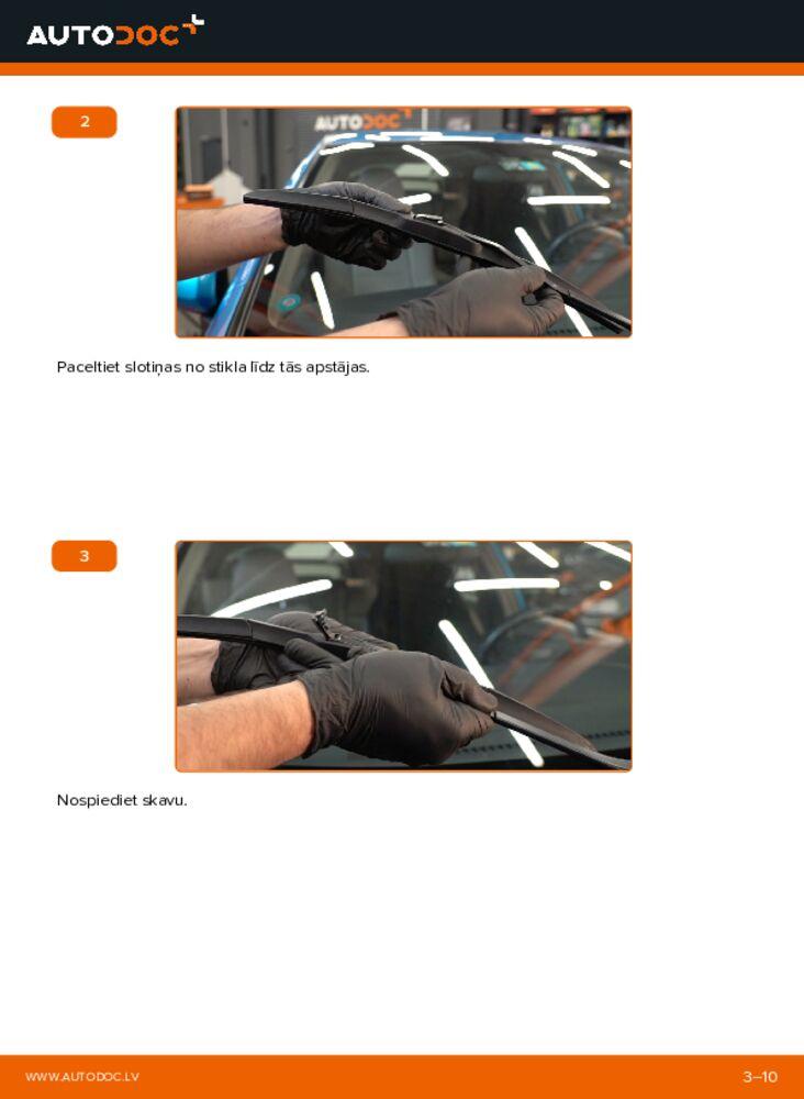 Kā veikt nomaiņu: 1.3 Hybrid (ZE28, ZE2) Honda Insight ZE2/ZE3 Stikla tīrītāja slotiņa