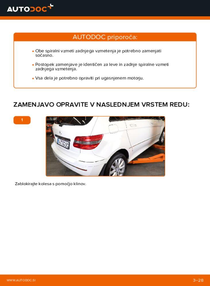 Kako izvesti menjavo: Vzmetenje na B 180 CDI 2.0 (245.207) Mercedes W245