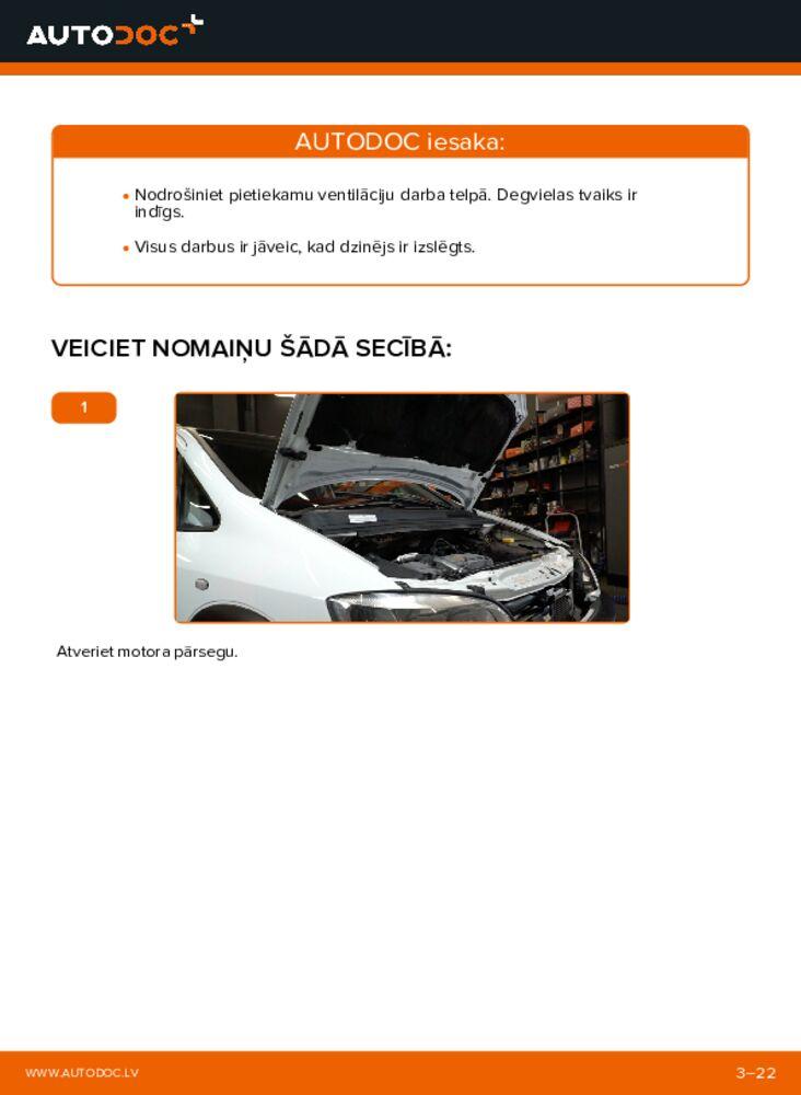 Kā veikt nomaiņu: 2.0 DTI 16V (F75) Opel Zafira f75 Degvielas filtrs