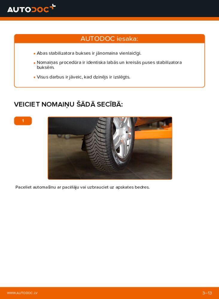 Kā veikt nomaiņu: 1.9 TDI VW Sharan 1 Stabilizatora Bukses