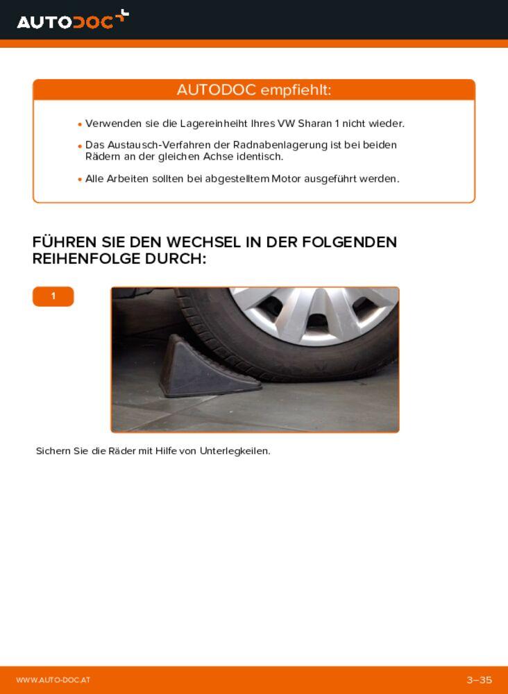 Wie der Austausch bewerkstelligt wird: Radlager beim 1.9 TDI VW Sharan 1