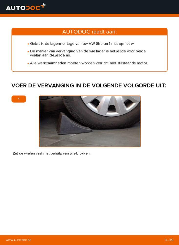 Vervangen: Wiellager 1.9 TDI VW Sharan 1
