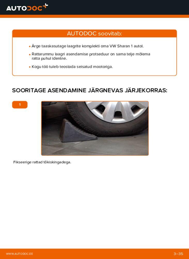 Kuidas välja vahetamist läbi viia: 1.9 TDI VW Sharan 1 Rattalaager