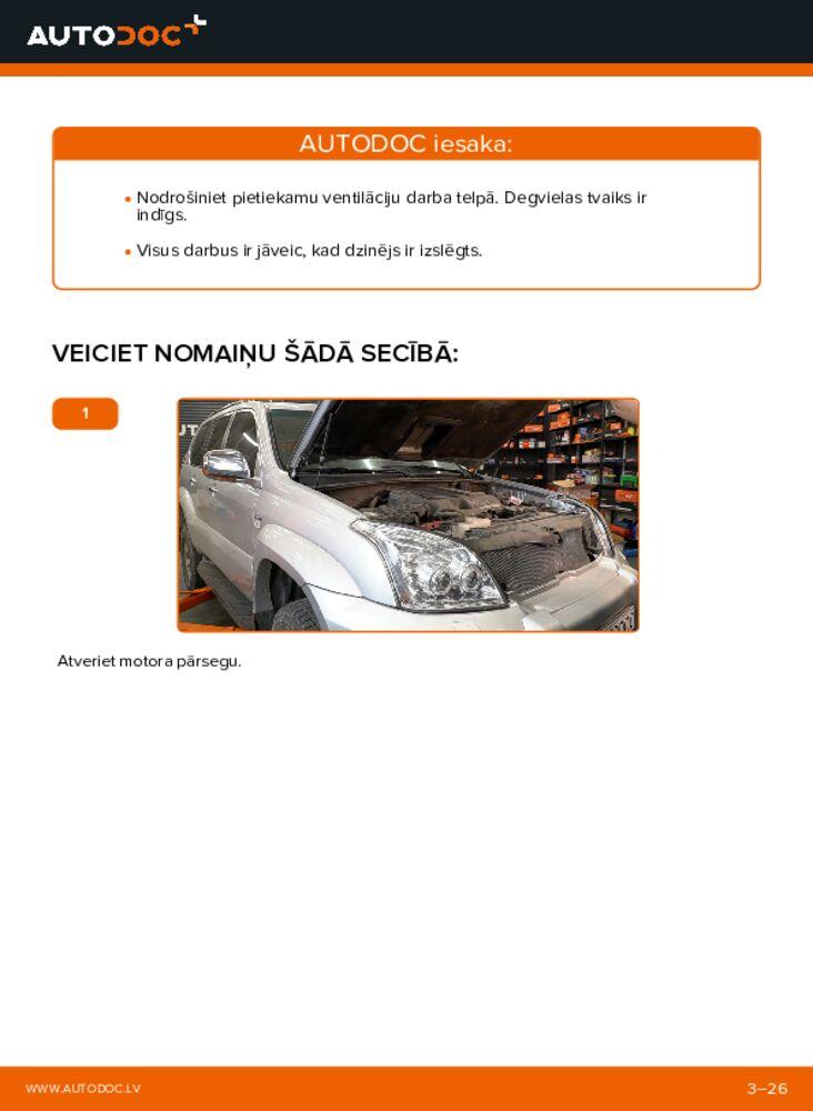 Kā veikt nomaiņu: 3.0 D-4D Toyota Prado J120 Degvielas filtrs