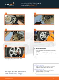 How to carry out replacement: Brake Pads on 1.6 16V (F08, F48) Opel Astra g f48