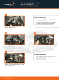 How to carry out replacement: Brake Pads on E 300 3.0 Turbo Diesel (210.025) Mercedes W210