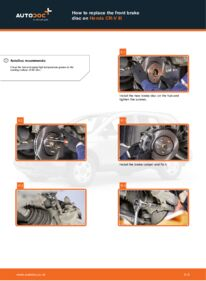 How to carry out replacement: Brake Discs on 2.2 i-CTDi 4WD (RE6) Honda CR-V III