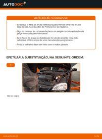 Como realizar a substituição de Filtro do Habitáculo no 1.2 (F08, F68) Opel Corsa C