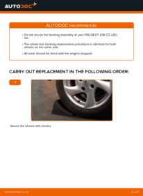 How to carry out replacement: Wheel Bearing on 1.6 16V Peugeot 206 cc 2d