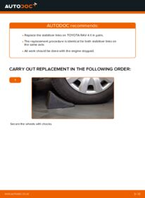How to carry out replacement: Anti Roll Bar Links on 2.0 D 4WD (CLA20_, CLA21_) Toyota Rav4 II
