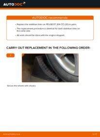How to carry out replacement: Anti Roll Bar Links on 1.6 16V Peugeot 206 cc 2d