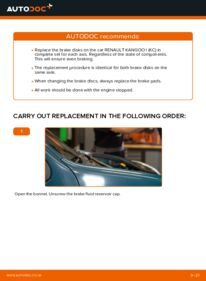 How to carry out replacement: Brake Discs on D 65 1.9 Renault Kangoo kc01