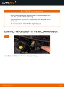 How to carry out replacement: Brake Pads on 1.9 D Multijet FIAT BRAVO II (198)