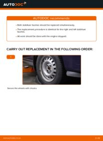 How to carry out replacement: Anti Roll Bar Bushes on 1.6 16V (F08, F48) Opel Astra g f48