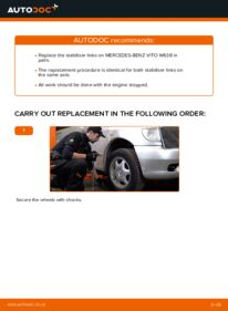 How to carry out replacement: Anti Roll Bar Links on 112 CDI 2.2 (638.194) Mercedes W638 Minibus