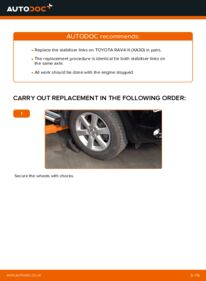 How to carry out replacement: Anti Roll Bar Links on 2.2 D 4WD (ALA30_) Toyota RAV4 III