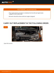 How to carry out replacement: Brake Calipers on 1.6 TDI Touran 1t3