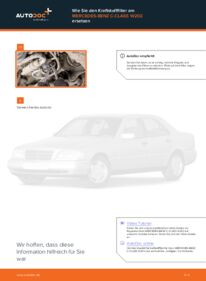 Wie der Wechsel durchführt wird: Kraftstofffilter Mercedes W202 C 180 1.8 (202.018) C 250 2.5 Turbo Diesel (202.128) C 220 D 2.2 (202.121) tauschen