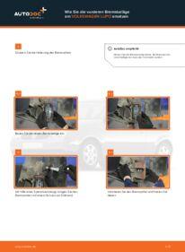 Wie der Wechsel durchführt wird: Bremsbeläge 1.2 TDI 3L VW Lupo 6x1 tauschen