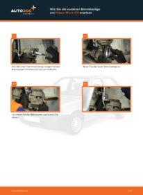 Wie der Wechsel durchführt wird: Bremsbeläge Nissan Micra k11 1.0 i 16V 1.3 i 16V 1.4 i 16V tauschen