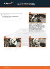 Wie der Wechsel durchführt wird: Bremsscheiben Hyundai Santa Fe cm 2.2 CRDi 4x4 2.2 CRDi GLS 4x4 2.2 CRDi tauschen
