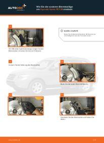 Wie der Wechsel durchführt wird: Bremsbeläge Hyundai Santa Fe cm 2.2 CRDi 4x4 2.2 CRDi GLS 4x4 2.2 CRDi tauschen