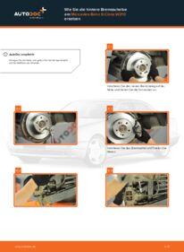 Wie der Wechsel durchführt wird: Bremsscheiben Mercedes W210 E 300 3.0 Turbo Diesel (210.025) E 220 CDI 2.2 (210.006) E 200 2.0 (210.035) tauschen