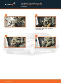 Wie der Wechsel durchführt wird: Bremsbeläge Mercedes W210 E 300 3.0 Turbo Diesel (210.025) E 220 CDI 2.2 (210.006) E 200 2.0 (210.035) tauschen