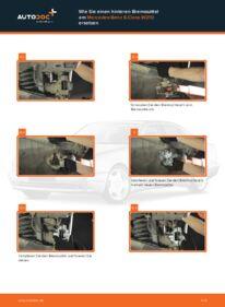 Wie der Wechsel durchführt wird: Bremssattel Mercedes W210 E 300 3.0 Turbo Diesel (210.025) E 220 CDI 2.2 (210.006) E 200 2.0 (210.035) tauschen