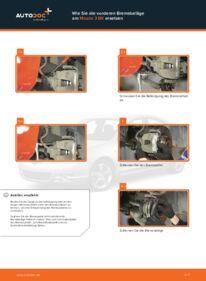 Wie der Wechsel durchführt wird: Bremsbeläge Mazda 3 bk 1.6 1.6 DI Turbo 2.0 tauschen