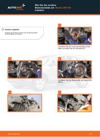 Wie der Wechsel durchführt wird: Bremsscheiben Honda CR-V III 2.2 i-CTDi 4WD (RE6) 2.0 i 4WD (RE5) 2.2 i-DTEC 4WD (RE6) tauschen