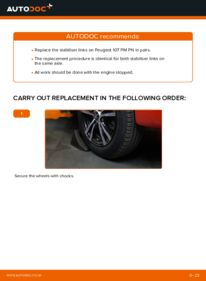 How to carry out replacement: Anti Roll Bar Links on 1.0 PEUGEOT 107