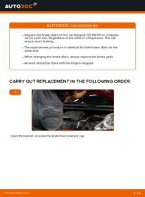 How to carry out replacement: Brake Discs on 1.0 PEUGEOT 107