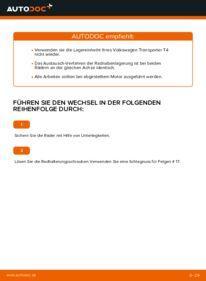 Wie der Wechsel durchführt wird: Radlager VW TRANSPORTER IV Bus (70XB, 70XC, 7DB, 7DW) 2.5 TDI 2.4 D 1.9 TD tauschen