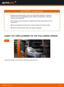 How to carry out replacement: Brake Discs on 1.9 CDTI (M75) Zafira b a05