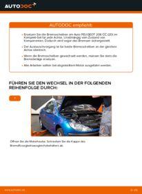 Wie der Wechsel durchführt wird: Bremsscheiben Peugeot 206 cc 2d 1.6 16V 2.0 S16 1.6 HDi 110 tauschen