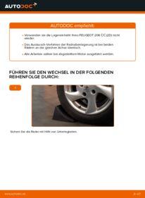 Wie der Wechsel durchführt wird: Radlager Peugeot 206 cc 2d 1.6 16V 2.0 S16 1.6 HDi 110 tauschen