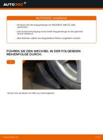 Wie der Wechsel durchführt wird: Koppelstange Peugeot 206 cc 2d 1.6 16V 2.0 S16 1.6 HDi 110 tauschen