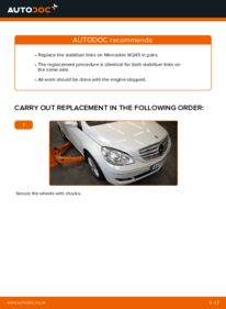 How to carry out replacement: Anti Roll Bar Links on B 180 CDI 2.0 (245.207) Mercedes W245