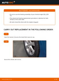 How to carry out replacement: Wheel Bearing on 1.3 Hybrid (ZE28, ZE2) Honda Insight ZE2/ZE3