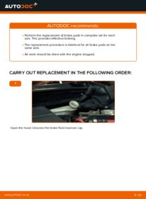 How to carry out replacement: Brake Pads on 1.4 TDCi Ford Fiesta V jh jd