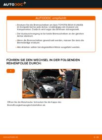Wie der Wechsel durchführt wird: Bremsscheiben Toyota RAV4 III 2.2 D 4WD (ALA30_) 2.0 4WD (ACA30_) 2.2 D (ALA35_) tauschen
