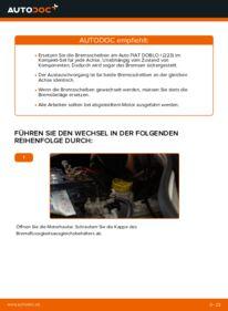 Wie der Wechsel durchführt wird: Bremsscheiben Fiat Doblo Cargo 1.9 JTD 1.3 D Multijet 1.9 D tauschen